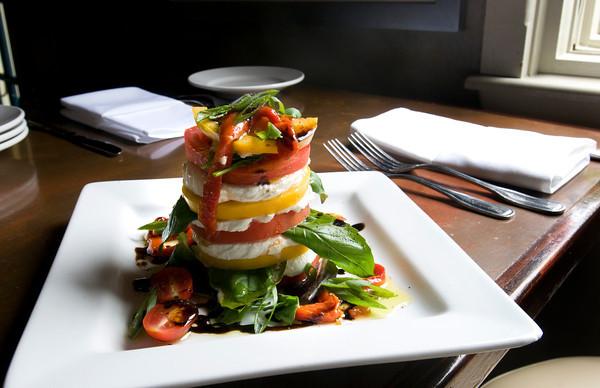 Newburyport: Heirloom Tomato and Fresh Mozzarella Tower. Bryan Eaton/Staff Photo