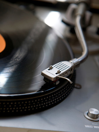 It's common for the music playing at Dyno Records to be on vinyl.