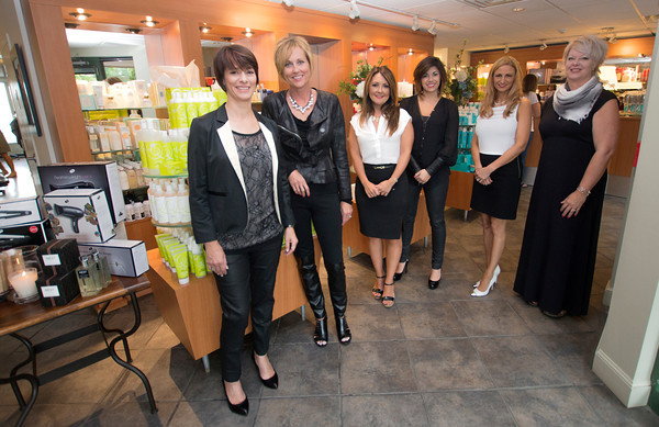 The staff at Interlocks in Newburyport from the left owner Ginny Eramo, Director of Operations Robin Spero, Assistant Manager and Cosmetics Buyer Chritine Scovotti, Project manager Jordan Eramo, Assistant Manager and Lead Buyer Alita Kaszuba and Salon Director and Master Stylist Vicki Quist.