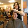 Mary LaPointe gets her hair done by stylist Amanda Bartlett at Interlocks in Newburyport.
