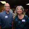 Bill Steelman of the Essex National Heritage Commission and Rebecca Wish Esche  at the Chamber of Commerce mixer at the Newburyport Brewery .