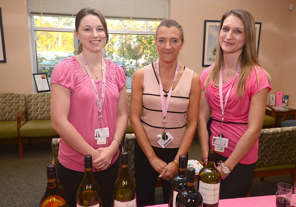 Miranda Conrad RN, receptionist Karen Lahey, and Radiation Therapist Senita Zelkanovic help welcome guest to the opening of the Gerrish Breast Care Center at the Ann Jaques.