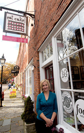 Hilary Larson at her shop Eat Cake on Inn Street in Newburyport
