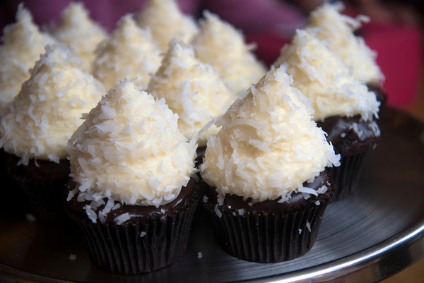 Chocolate Fudge, with vanilla butter cream and fresh coconut cup cake at Eat Cake