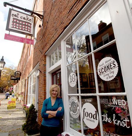 Hilary Larson at her shop Eat Cake on Inn Street in Newburyport