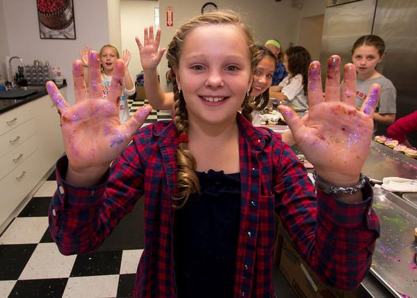 Aquinnah Wehrwein, 9,at a party at Eat Cake in Newburyport.