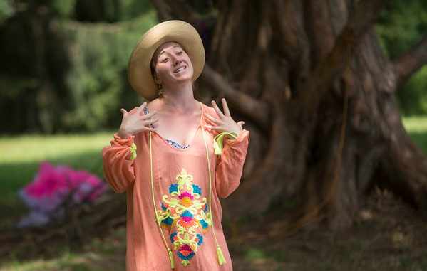 JIM VAIKNORAS/Staff photo  Aisha Chadot as Helena in the Theater in the Open production of A Midsummer Night's Dream at Maudslay State Park.