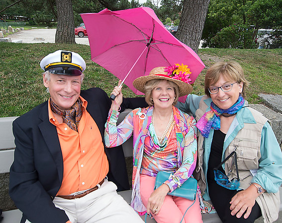 JIM VAIKNORAS/Staff photo Peter and Sandy Nawrocki,of West Newbury,  as Thursten and Lovie Howell and Paula Renda of Newburyport as the Professor at The Gilligan's Island Costume Fundraiser Cruise Hosted by The Actors Studio of Newburyport on teh Newburyport Waterfront.
