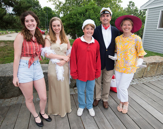 JIM VAIKNORAS/Staff photo The Hall family of Andover from the left: Caroline as Mary Ann, Katherine as Ginger, Joseph as Gilligan , Eric as Thurston Howell III and Mary as Lovie at The Gilligan's Island Costume Fundraiser Cruise Hosted by The Actors Studio of Newburyport on teh Newburyport Waterfront.