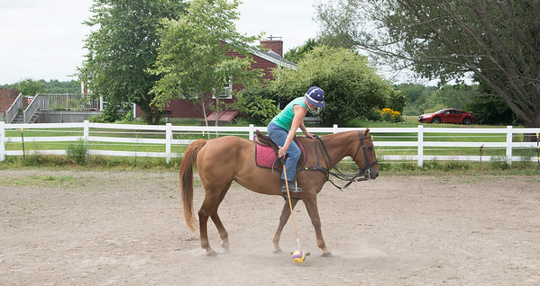 JIM VAIKNORAS/Staff photo Ellen Rukowicz of Newbury strikes the ball during a polo class at Stage Hill Farm in Newbury.