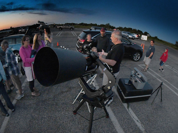 JIM VAIKNORAS/Staff photo Star Party Coordinator Brewster LaMacchia talks at North Shore Amateur Astronomy Club (NSAAC) star party at Salisbury Beach Reservation.