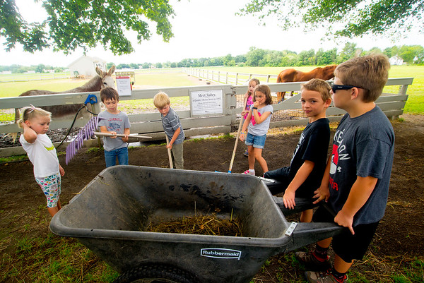 JIM VAIKNORAS/Staff photo Campers use shovels and rakes to clean up at the Spencer-Peirce-Little Farm during the Little Farmers Camp.