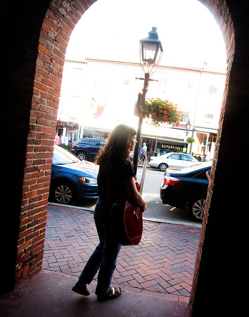 JIM VAIKNORAS/Staff photo Annabelle Lord-Patey of Beverly performs on State Street in Newburyport.