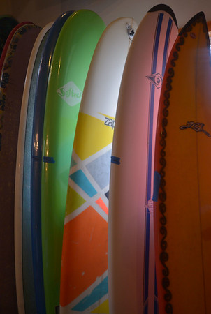 JIM VAIKNORAS/Staff photo A few of the boards at Zapstix Surf Shop in Seabrook.