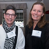 JIM VAIKNORAS/Staff photo Elena Bachrach of the Newburyport Art Association and Kim Rock of the Institution for Savings at the Greater Newburyport Chamber of Commerce meeting at the Black Swam in Georgetown.