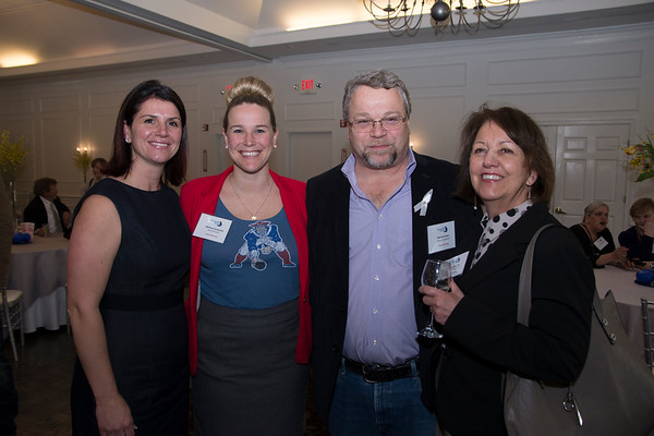 JIM VAIKNORAS/Staff photo Sara Spaulding of the Provident Bank,Melissa Cerasuolo of the Haverhill Bank, , Michael Sheer of Seaport Signworks, and Cheryl Wyman of the 1911 Trust, at the Greater Newburyport Chmber of Commerce meeting at the Black Swam in Georgetown.
