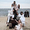 JIM VAIKNORAS/Staff photo The Exit Dance Company at Plum Island Point , clock wise: Fontaine Dubus, Yori Thomas, Damon Jesperson, Julie Pike Edmond, Sarah George, Patricia Piacentini, Cheryl Fisher, and Wendy Hamel.