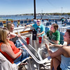 BRYAN EATON/Staff photo. Friends meet on the opening day of The Deck in Salisbury, from left, Sommer Spillane, Byfield; Jessica Grasso, Amesbury; Joey Paquette, Amesbury; Amanda Atchley, Salisbury and Carly LeSage of Salisbury.