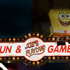 JIM VAIKNORAS/Staff photo A large stuffed Sponge Bob sits on a sign welcoming visitors to Joe's Playland.