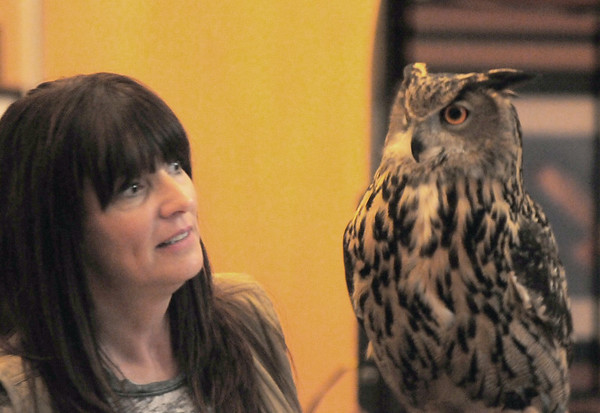 JIM VAIKNORAS/Staff photo Jane Kelly , of  On the Wing Raptor Rehabilitation shows off one of her owls at the Parker River Earth Day Festival.