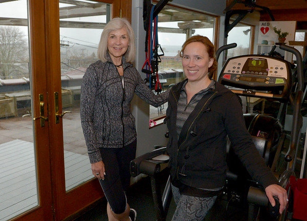 JIM VAIKNORAS/Staff photo Natural High Fitness founders Nancy McCarthy and Kimberly Zanat Marttila at their studio in Newburyport.