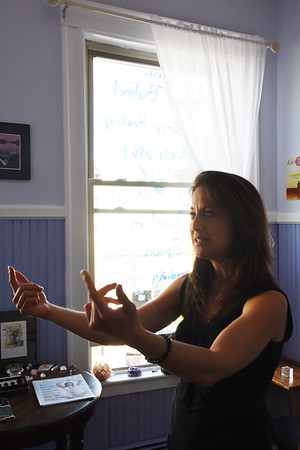 BRYAN EATON/Staff photo. Ariana M. Bahret, a certified LifeLine practitioner in her Newburyport studio.