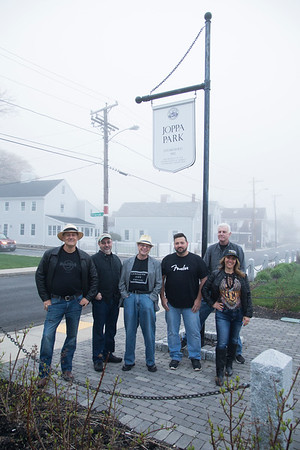 JIM VAIKNORAS/Staff photo The Joppa Flatts: Chris Santarelli,Michael Garron, Douglas Plant, Craig Macdonald, Jason Murley, and Ellen Katz at Joppa Park in Newburyport