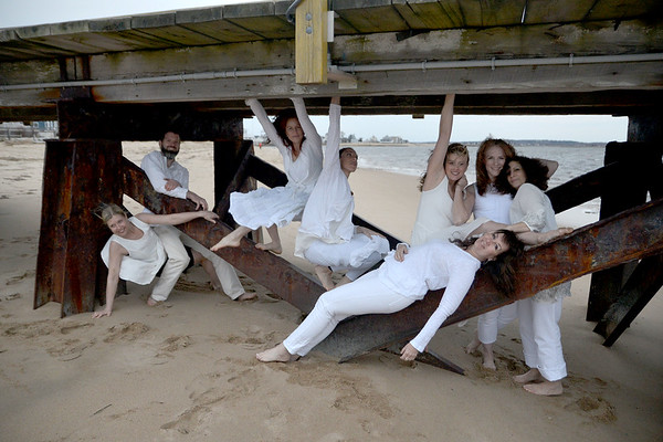 JIM VAIKNORAS/Staff photo The Exit Dance Company at Plum Island Point from the left Julie Pike Edmond, Damon Jespersen, Yori Thomas, Wendy Hamel, Particia Piacentini, Cheryl Fisher, and Fontaine Dubus.
