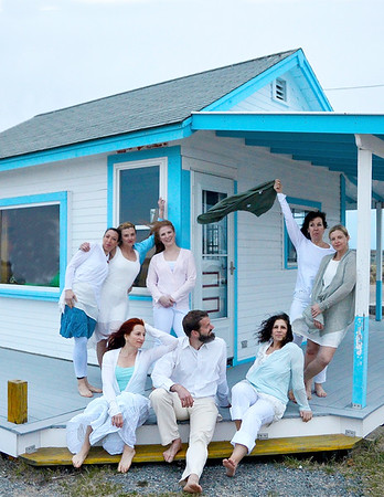 JIM VAIKNORAS/Staff photo The Exit Dance Company at Plum Island Point , front from left: Srah George, Damon Jesperson, and Fontaine Dudus. Back from left: Yori Thomas, Wendy Hamel, Patricia Piacentini, Cheryl Fisher, and Julie Pike Edmond