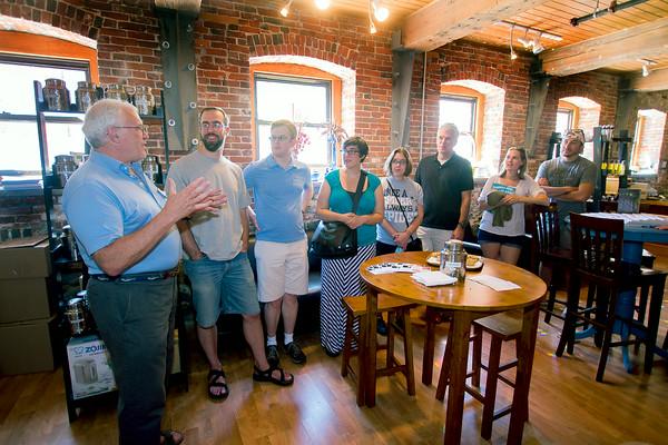 JIM VAIKNORAS/Staff photo  Rick Hayes at Lilyput talks about tea during the Newburyport Food Tour.
