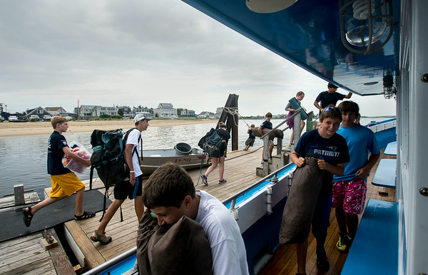 JIM VAIKNORAS/Staff photo..Kids board the Capt George off Plum Island Point for their trip to the Isle of Shoals.