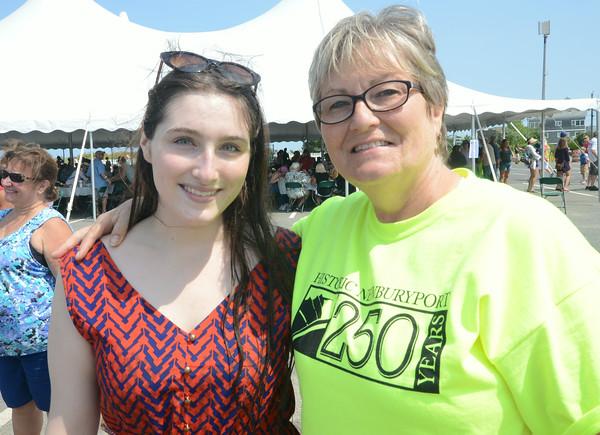 JIM VAIKNORAS/Staff photo  Deb Aandrews and her niece Kaytlyn Wilson at the Newburyport 250th clam bake