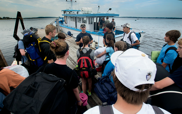 JIM VAIKNORAS/Staff photo.Talks to the kids before boarding the Capt George off Plum Island Point for their trip to the Isle of Shoals.