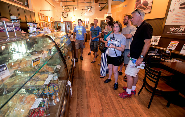JIM VAIKNORAS/Staff photo Newburyport Food Tour makes a stop at Chococoa in the Tannery
