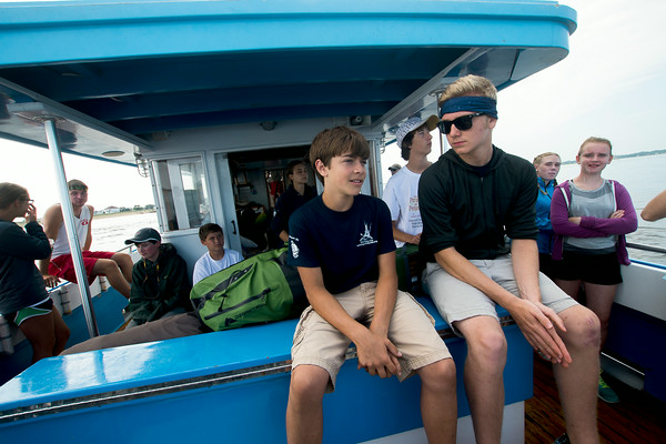 JIM VAIKNORAS/Staff photoOn teh Capt George on the way to the Isle of Shoals