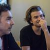 AMANDA SABGA/Staff photo<br /> <br /> Joe Keery, Newburyport native, who plays Steve Harrington on the Netflix original series Stranger Things, talks with press at A4cade in Cambridge.<br /> <br /> 6/25/19