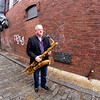 JIM VAIKNORAS/Staff photo Musician Danny Harrington off Pleasant Street in Newburyport