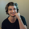 AMANDA SABGA/Staff photo<br /> <br /> Joe Keery, Newburyport native, who plays Steve Harrington on the Netflix original series Stranger Things, talks with press at A4cade in Cambridge.<br /> <br /> 6/25/19
