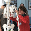 JIM VAIKNORAS Christine Pulucci learns how the humerus works into the shoulderduring a workshop at PITA Hall.