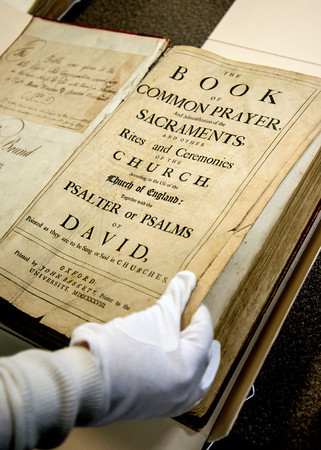 Book of Common Prayer 1738 used by Mayor during her inauguration. The book was given to the third church of Newbury by Captain Aeneas MacKay of Boston and was newly bound by John MyCall, a Newburyport publisher, bookseller and bookbinder in 1787<br /> at the Newburyport Library archive center
