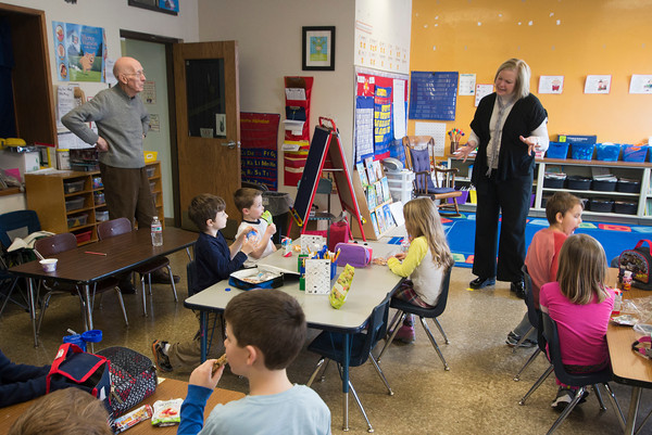 John Gove along with principal Amy Sullivan visits a class room  at the Brown School