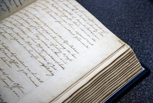 Newburyport record book dated between 1764-1789 at the Newburyport Achive Center at the library.