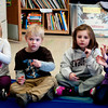 Ella Puleo, Jack Parr, Chloe Roby, and  Brynn Ponting  use sign language  in Melissa Duguie's Class