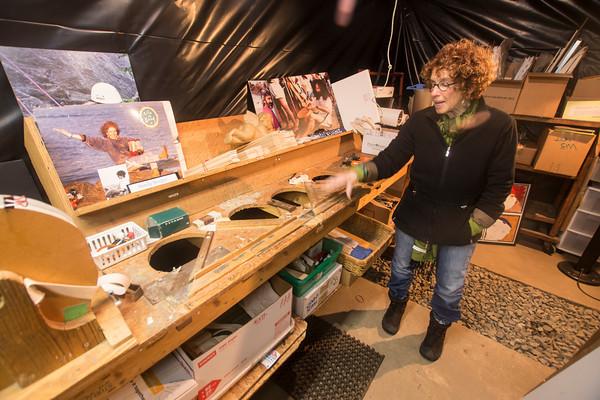 Leslie Aisner Novak in her basement with the original Howda templates