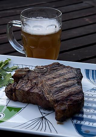 Porterhouse steak and Newburyport Brewing Company Beer from Fowles
