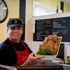 Rick Bennett butcher at Fowles with marinated Turkey cutlets