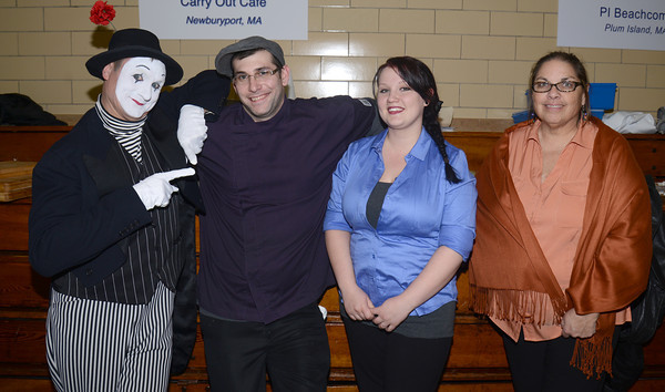 The Mime, Patrick Abenate, Lauren Sargent, and Paula Simpson of the Carry Out Cafe at Great Chef's night at the Governor's Academy.Jim Vaiknoras/staff photo
