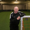 Soccer coach Tosh Farrell at his indoor field in Amesbury