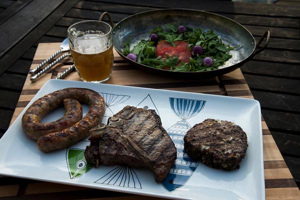 Kitchen Sink sausage, porterhouse steak and stuffed burger