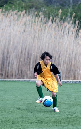 Ethan Trejo in a U8 game at Amesbury Sports Park.